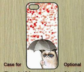 Cat and Heart Rain-- iPhone 5 case , iPhone 4 case , iPhone 4S case , Samsung Galaxy S3 case , Samsung Galaxy Note2 case